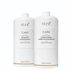 Keune Care Line SATIN OIL rinkinys porėtų, sausų, blizgesį praradusių plaukų priežiūrai