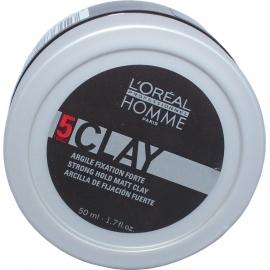 Lanksčios fiksacijos plaukų molis L'oreal Homme Clay 5 Strong hold Matt Clay 50ml