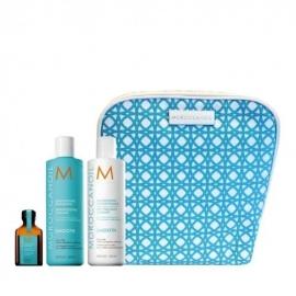 Moroccanoil dovanų rinkinys- plaukus tiesinantis šampūnas, kondicionierius, aliejukas