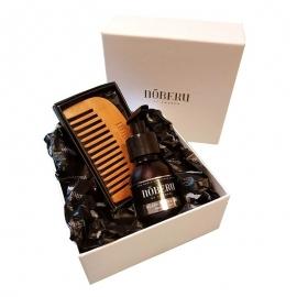 NOBERU AMBER-LIME dovanų rinkinys barzdos priežiūrai (aliejus ir medinės šukos)