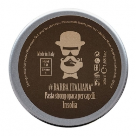 Formavimo pasta plaukams Barba Italiana, Strong Matte Hair Paste Insolia, stiprios fiksacijos, BI07070S, 50 ml