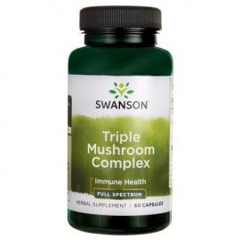 SWANSON Triple Mushroom kompleksas (Maitake, Reishi, Shiitake complex) N60 maisto papildas