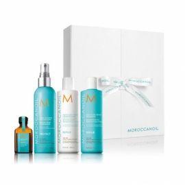 Moroccanoil Restorative rinkinys plaukų priežiūrai- drėkinantis šampūnas, kondicionierius, apsauga nuo karščio bei aliejukas