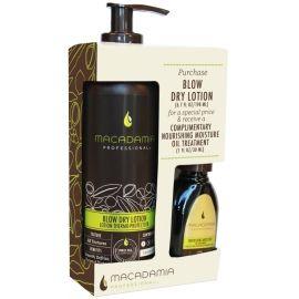 Macadamia Professional Blow Dry Lotion With Mini Oil plaukų priežiūros priemonių rinkinys