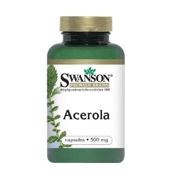 Swanson ACEROLA N60 maisto papildas, padedantis sumažintis nuovargį, atgaivinantis odą, kovojantis su ląstelių senėjimu
