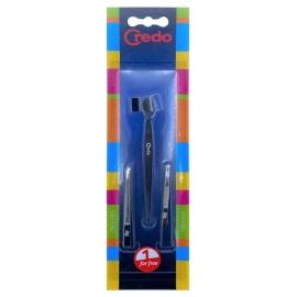 Antakių priežiūros įrankių rinkinys Credo Eyebrow Set CRE89914, rinkinį sudaro: skustuvas antakiams ir du pincetai