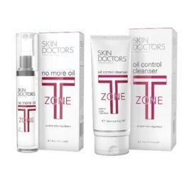 Skin Doctors T-Zone rinkinys nuo spuogų su odos riebumą mažinančiu kremu ir veido prausikliu